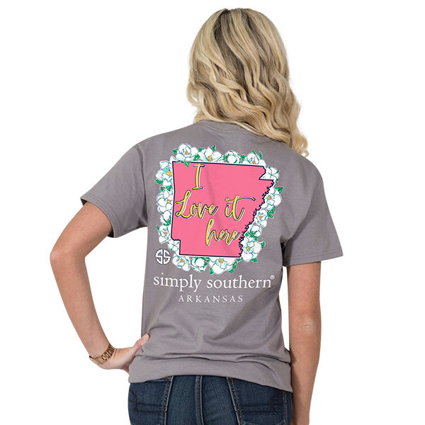 Simply Southern Tees Preppy T-Shirt - Arkansas Flower Design - Color Steel