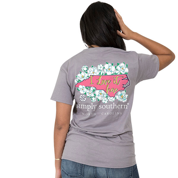 Simply Southern Tees Preppy T-Shirt - North Carolina - Flower Design - Color Steel