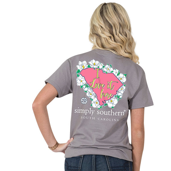 Simply Southern Tees Preppy T-Shirt - South Carolina - Flower Design - Color Steel