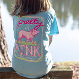 Youth Itsa Girl Thing T-Shirt - Pig - Pretty In Pink - Color Sky Blue