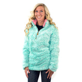 Simply Southern Preppy Frosty Tipped Sherpa Pullover for Women in Seaglass