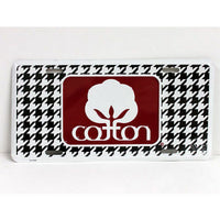 Houndstooth Seal Of Cotton Metal Car Tag - License Plates - With Crimson Logo