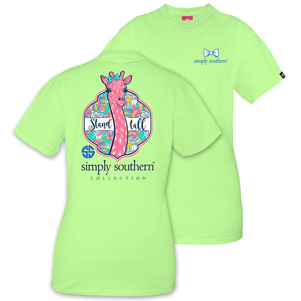 Simply Southern Tees Preppy Giraffe Stand Tall T-Shirt - Color Limeaide