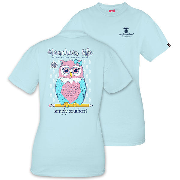 Simply Southern Tees Preppy Owl T-Shirt - Teachers Life - Color Bubbles