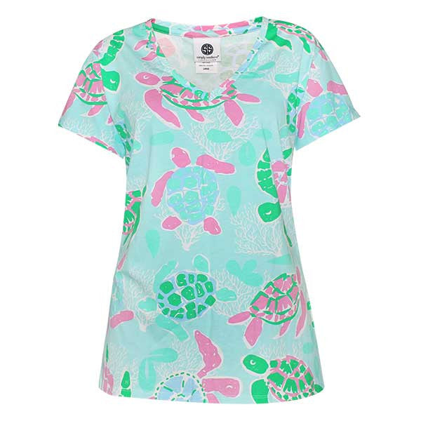 Simply Southern Preppy Collection Turtle Patterned V-Neck T-shirt For Women