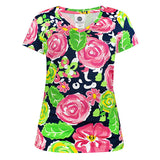 Simply Southern Preppy Collection Rose Garden Patterned V-Neck T-shirt For Women