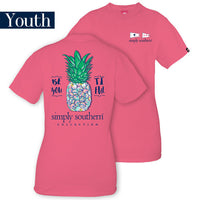 Youth Simply Southern Tees Preppy Pineapple T-Shirt - Beautiful - Color Strawberry