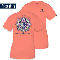 Youth Simply Southern Tees Preppy T-Shirt - Heart Be Your Compass - Color Poppy