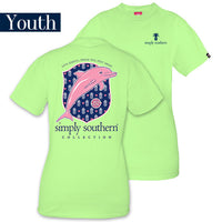 Youth Simply Southern Tees Preppy Dolphin T-Shirt - Live Simply Dream Big Stay Sweet - Tee Color Limeaide