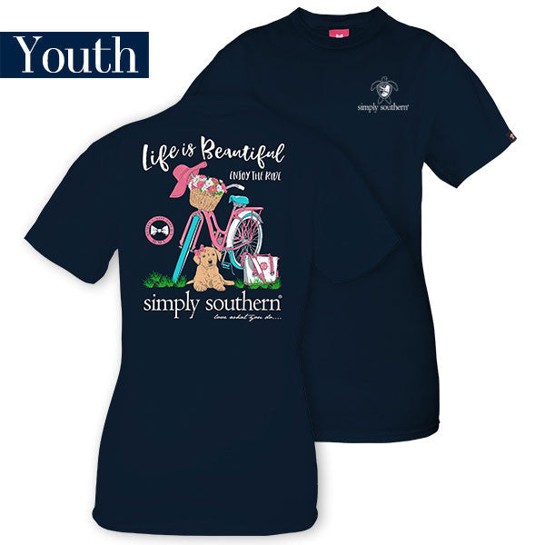 Youth Simply Southern Tees Preppy Bicycle - Life Is Beautiful - Navy T-Shirt