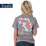 Youth Simply Southern Tees Preppy T-Shirt - Florida - Flower Design - Color Steel