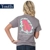 Youth Simply Southern Tees Preppy T-Shirt - Georgia - Flower Design - Color Steel