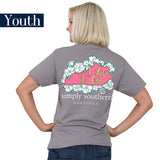 Youth Simply Southern Tees Preppy T-Shirt - Kentucky - Flower Design - Color Steel