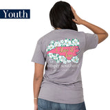 Youth Simply Southern Tees Preppy T-Shirt - North Carolina - Flower Design - Color Steel