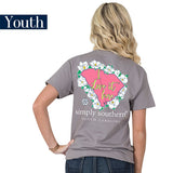 Youth Simply Southern Tees Preppy T-Shirt - South Carolina - Flower Design - Color Steel