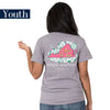 Youth Simply Southern Tees Preppy T-Shirt - Virginia - Flower Design - Color Steel