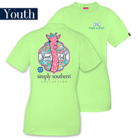 Youth Simply Southern Tees Preppy Giraffe Stand Tall T-Shirt - Color Limeaide