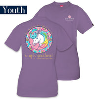 Youth Simply Southern Tees Preppy T-Shirt - Unicorn - Color Amethyst
