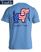 Youth Puppie Love Tee - USA Pup - Puppy T-Shirt - Color Carolina Blue