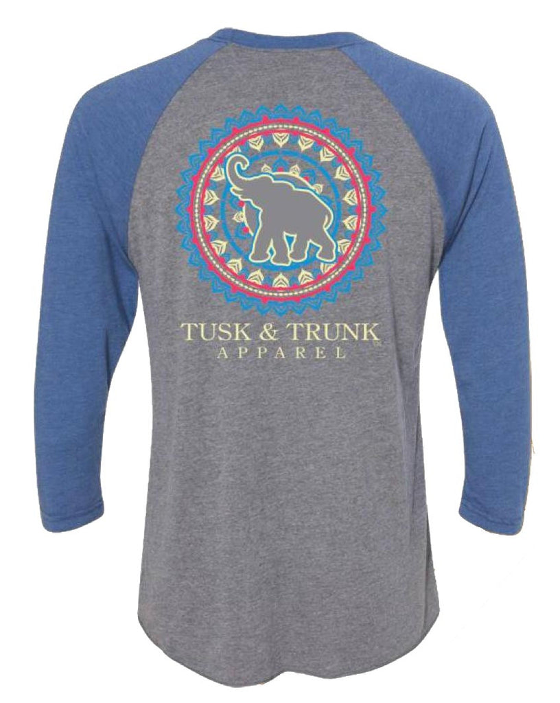 Tusk and Trunk Apparel Elephant Circle Pattern Raglan T-Shirt Color Grey