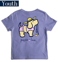 Youth Puppie Love Tee - Bikini Pup - Puppy T-Shirt - Color Violet
