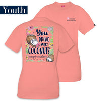Youth Simply Southern Tees Preppy T-Shirt - You Drive Me Coconuts - Color Melon
