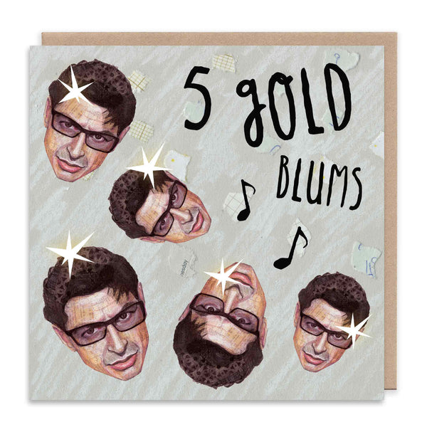 FIVE GOLD BLUMS Christmas Greetings Card