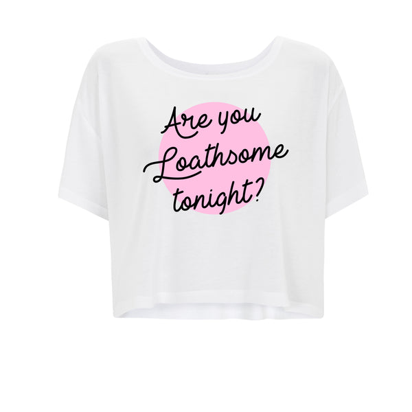 ARE YOU LOATHSOME TONIGHT? cropped white tee from LA LA LAND