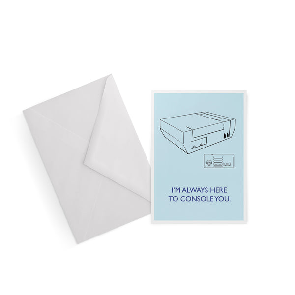 Always here to console you Nintendo 64 blue greetings card from LA LA LAND
