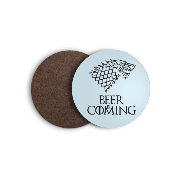 BEER IS COMING game of thrones STARK direwolf COASTER from LA LA LAND