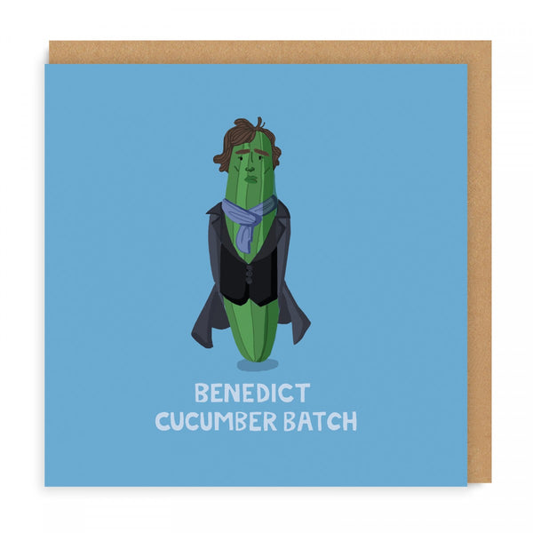 BENEDICK CUCUMBERBATCH benedict cumberbatch cucumber vegetable SHERLOCK HOLMES greetings card by Faye Finney from LA LA LAND