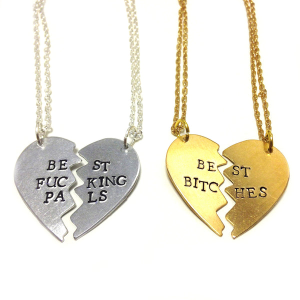 BEST BITCHES heart BFF hand stamped necklace from LA LA LAND