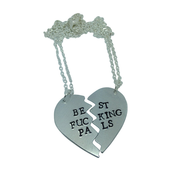 BEST FUCKING PALS heart BFF hand stamped necklace from LA LA LAND