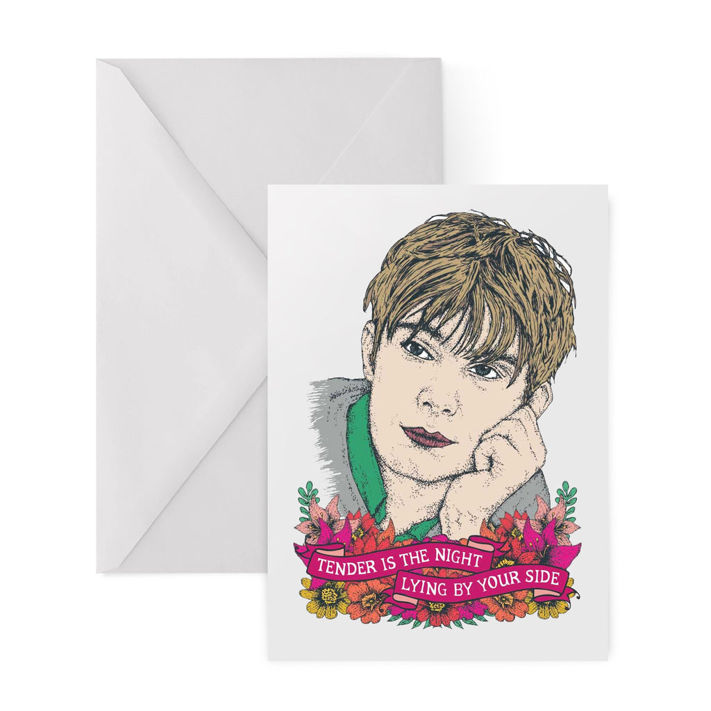 BLUR damon albarn TENDER IS THE NIGHT BRITPOP 90s greetings card by Lost Plots from LA LA LAND