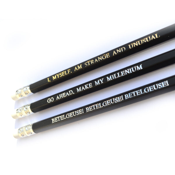 Beetlejuice hand stamped quote Pencil Set by POPCULT from LA LA LAND
