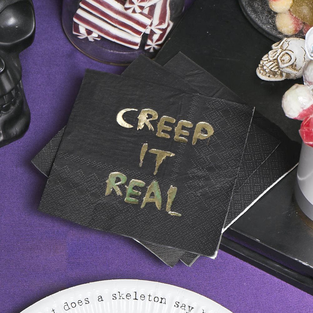 Black goth party Paper Napkins with GOLD FOIL creep it real slogan by Talking Tables from LA LA LAND