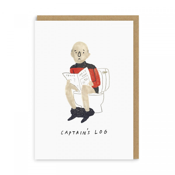 CAPTAIN'S LOG star trek Patrick Stewart Captain Jean-Luc Picard GREETINGS CARD by Alex Willmore from LA LA LAND