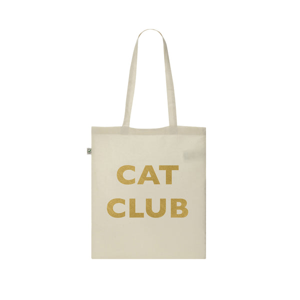 CAT CLUB gold vinyl tote bag from LA LA LAND