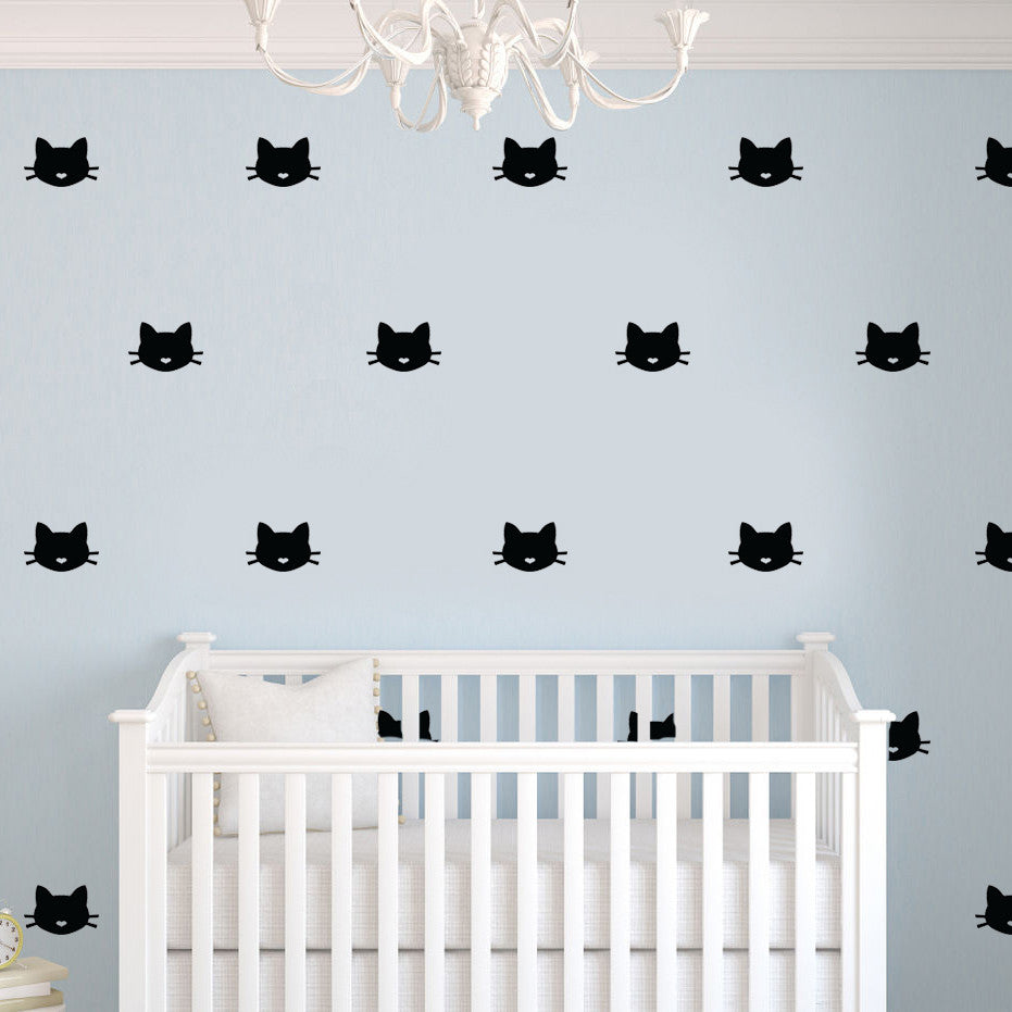 CAT FACE BLACK WALL DECALS By LA LA LAND ...