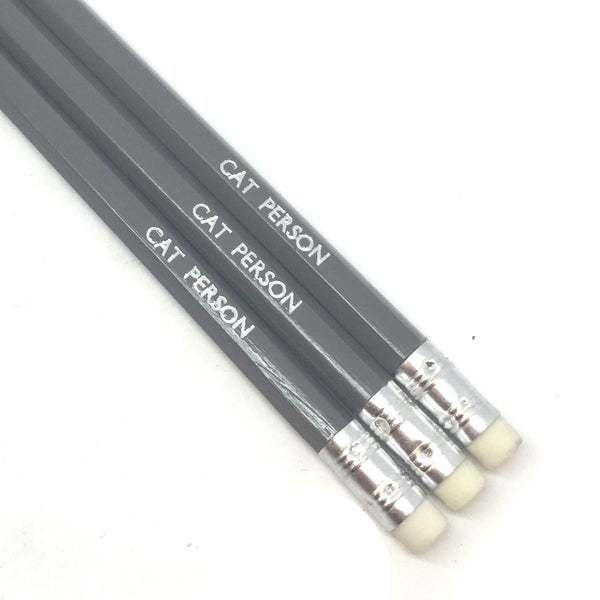 CAT PERSON slogan text quote hand-stamped hot foil pencils by POPCULT from LA LA LAND