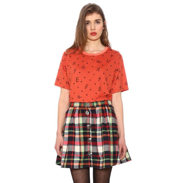 CHECKED tartan CHRISTMAS COLOURS lumberjack button down skirt by PEPA LOVES from LA LA LAND £35