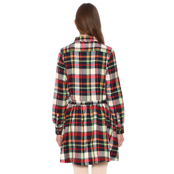 CHECKED tartan CHRISTMAS COLOURS lumberjack shirt dress by PEPA LOVES from LA LA LAND £45