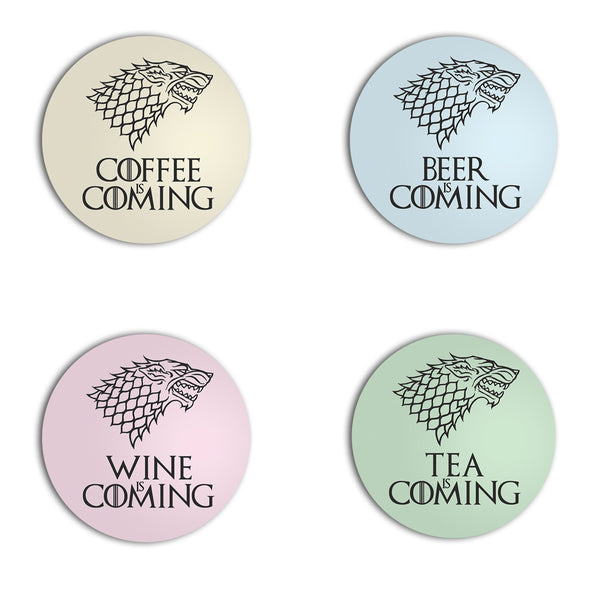 BEER WINE TEA COFFEE IS COMING game of thrones STARK direwolf COASTER from LA LA LAND
