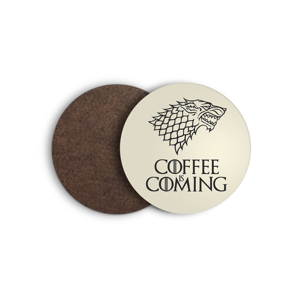COFFEE IS COMING game of thrones STARK direwolf COASTER from LA LA LAND