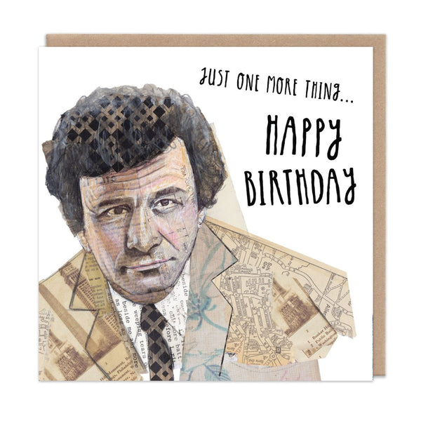 COLUMBO peter falk just one more thing DETECTIVE TV greetings card by Angie Beal from LA LA LAND