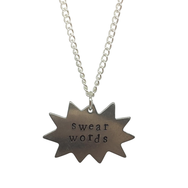 COMIC STRIP SPEECH BUBBLE initial SLOGAN text NAME silver plate charm necklace from LA LA LAND.jpg