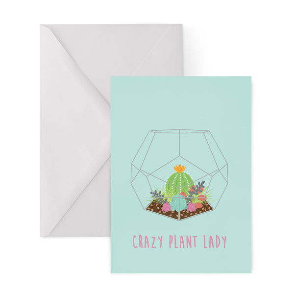 CRAZY PLANT LADY succulents cactus cacti GREETINGS CARD from LA LA LAND