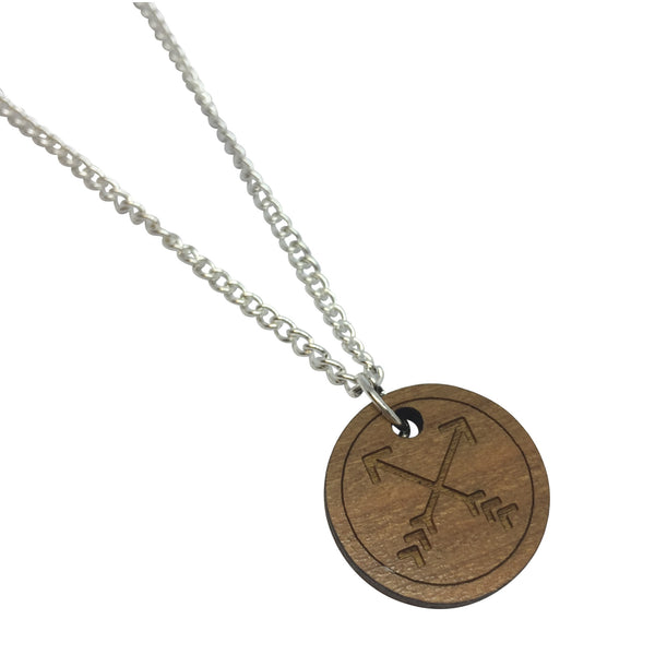 CROSSED ARROWS WOODEN laser cut ENGRAVED etched charm necklace from LA LA LAND