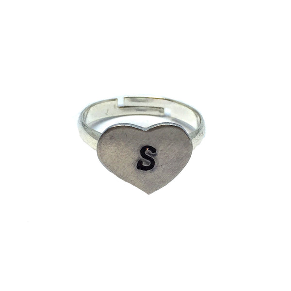 Custom Hand Stamped Heart Ring