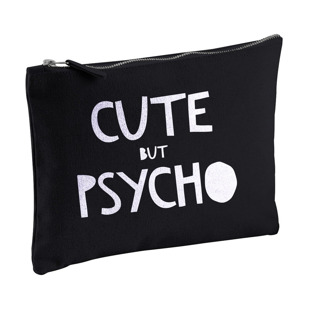 CUTE BUT PSYCHO canvas clutch zipper pouch bag from LA LA LAND